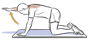 Man on all fours with right arm lifted up doing reach and hold exercise.