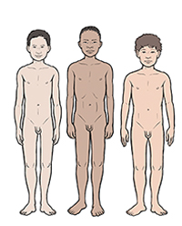 Three boys showing differences in development at age 12.